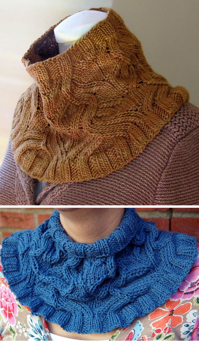 Free Knitting Pattern for Serpentine Cowl - This cowl features a special stitch pattern that creates winding texture with increases and decreases. Aran weight yarn. Designed by Angela Hahn. Pictured project by Carolijn654