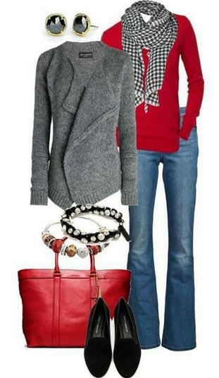 Casual Tall Outfit: Red, Gray & Black - Tall Snob