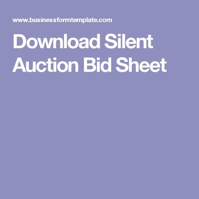 Download Silent Auction Bid Sheet