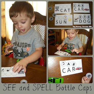 See and Spell Bottle Caps