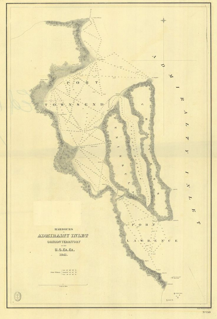 Admiralty Inlet Oregon Territory Map - 1841