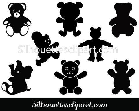 Teddy Bear Silhouette Clip art Pack