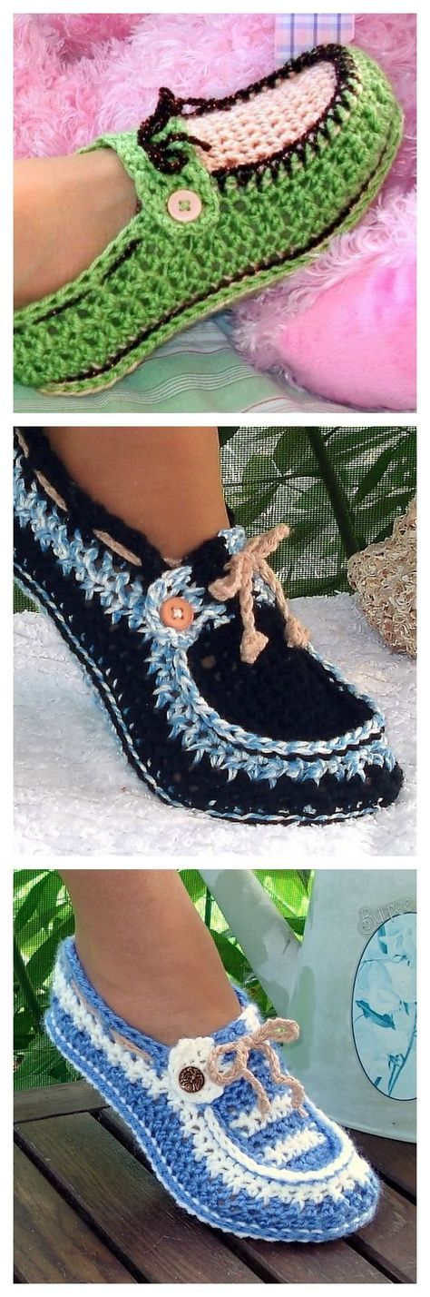 Beautiful Crochet Button Loafers - these look just like boat shoes, so cute!