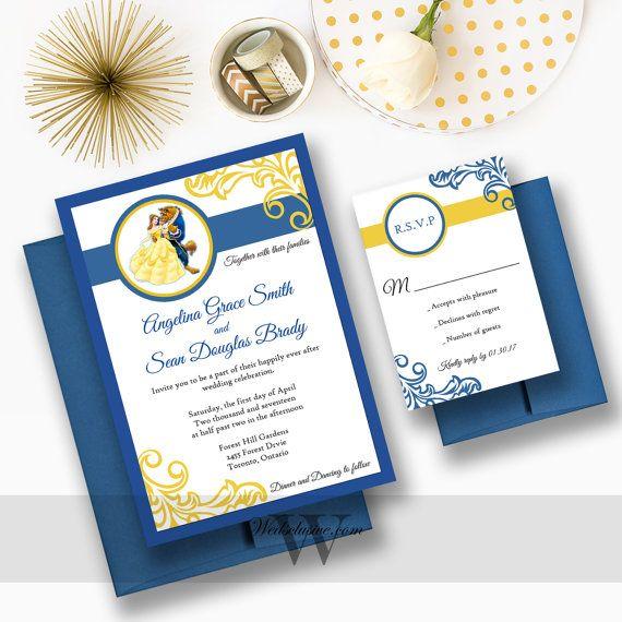 Elegant Beauty and the Beast Wedding Invitations.  www.wedsclusive.etsy.com