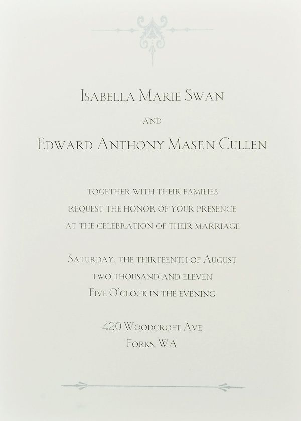 Breaking Dawn - Wedding Invitation