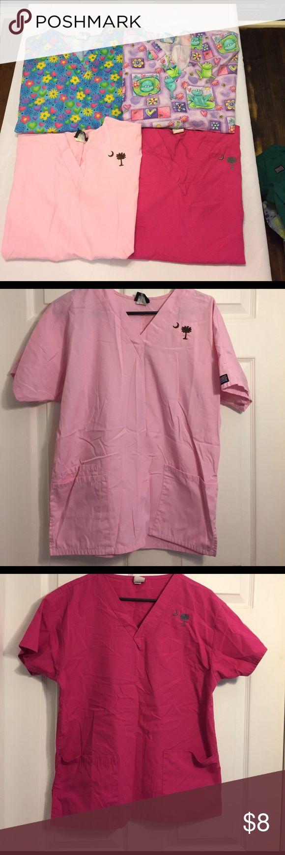 Lot of 4 Sz Small Scrub Tops. All 4 are size small. The tags are worn so you can't see size. The light pink is by Cherokee. The dark pink is by Dickies. These both have an embroidered palmetto tree and moon. The two print tops are by Scrub HQ. the price reflects the tags. Other
