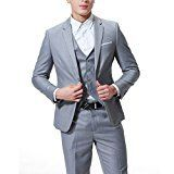 Men's 3-Piece Suit 2 Buttons Slim Fit Solid Color Jacket Smart Wedding Formal Suit,Grey,Small