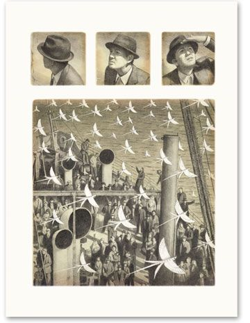 Shaun Tan, an amazing illustrator. This is such an interesting page layout