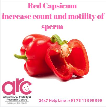 Red Capsicum An ideal fertility diet should include red capsicum which is rich in antioxidants like vitamin C and Vitamin A. Antioxidants are chemicals that transfer electrons or hydrogen from a substance to an oxidizing agent and they can prevent or slow cell damage. Vitamin C is an antioxidant that is needed for the healthy production of sperm.It can also increase count and motility of sperm and reduce clumping of sperm ARC International Fertility & Research Centre.  #Infertility…