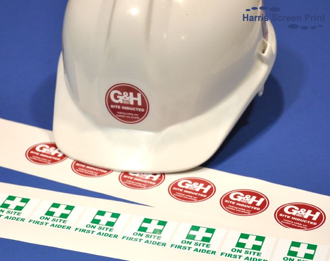 Waterproof hard hat stickers, durable and outdoor grade.  Find out more about our waterproof stickers on our web page http://www.harris-screenprint.co.uk/products/waterproof-outdoor-stickers