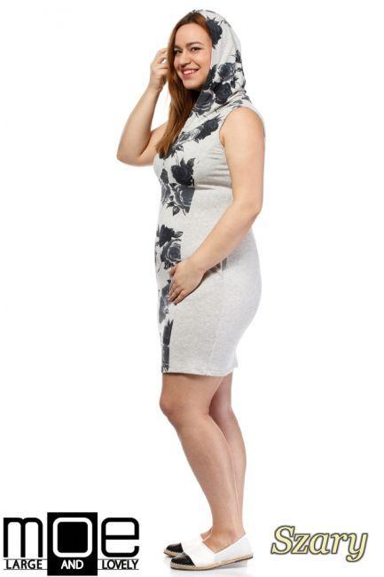Sukienka z kapturem bez rękawów w rozmiarze XXL.  #cudmoda #moda #uroda #styl #+size #clothes #ubrania #odzież