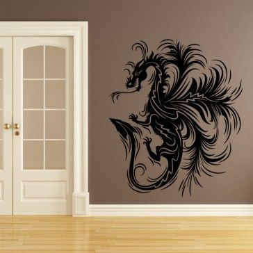 Dragon print decorative wall art stickers decal mythical for Dragon mural for wall