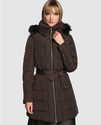 Plumífero de mujer Zendra El Corte Inglés en marrón con capucha desmontable