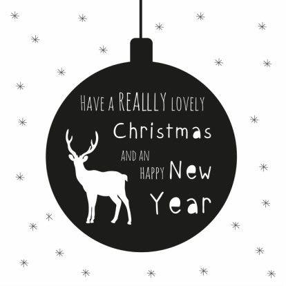 Leuke hippe zwart/wit kerstkaart met kerstbal en rendier, verkrijgbaar bij #kaartje2go voor € 1,89