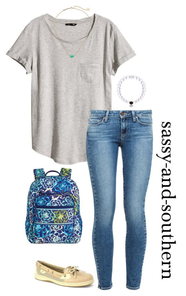 """""""outfit for school tomorrow"""" by sassy-and-southern ❤ liked on Polyvore featuring H&M, Paige Denim, Sperry Top-Sider, Kendra Scott and Vera Bradley"""
