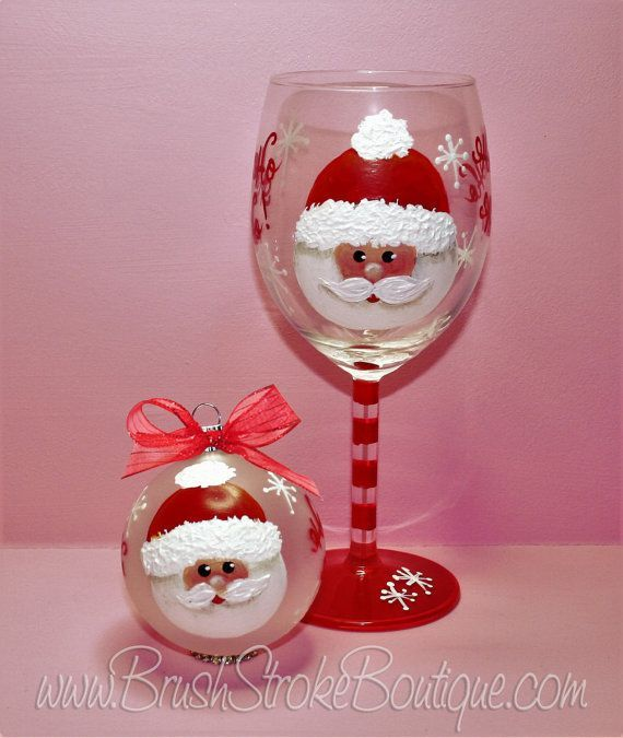 Hand Painted Wine Glass Ornament Set - Santa Face - Personalized and Custom Wine…