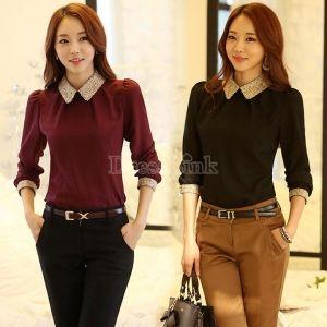 New Fashion Women Long Sleeve Chiffon Casual Tops Shirt Blouse