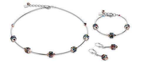 Swarovski and multicolour rhinestone necklace, bracelet and earrings. 4771_1500
