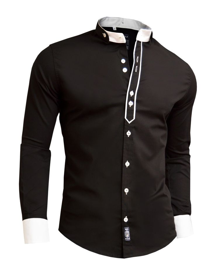 Designer Men Casual Formal Double Cuffs Grandad Band Collar Shirt Elegant Tie DR: Amazon.co.uk: Clothing