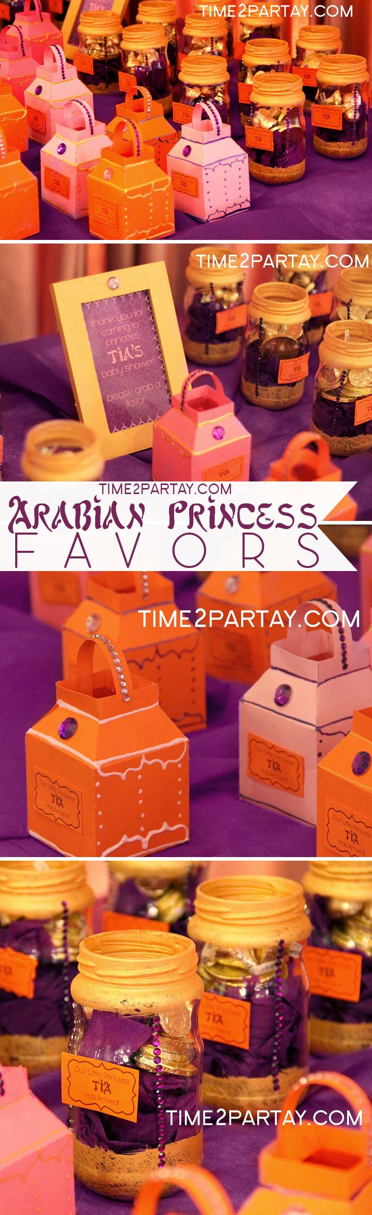 Arabian Princess Tia Has Arrived {A Welcome Baby Party}. Favors to give guests at the end of the party #arabian #princess #jewels #chocolate #favors #giveaways #royal #birthday #baby #shower #party #thankyou #celebration #lanterns