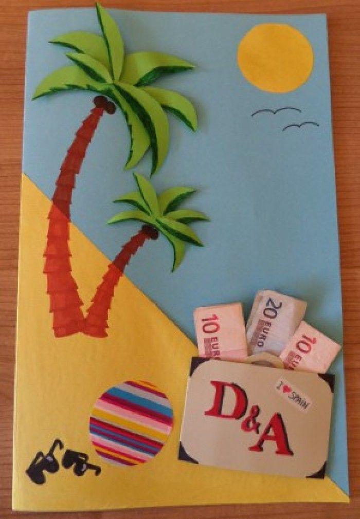 vakantiekaart met geld, leuk cadeau