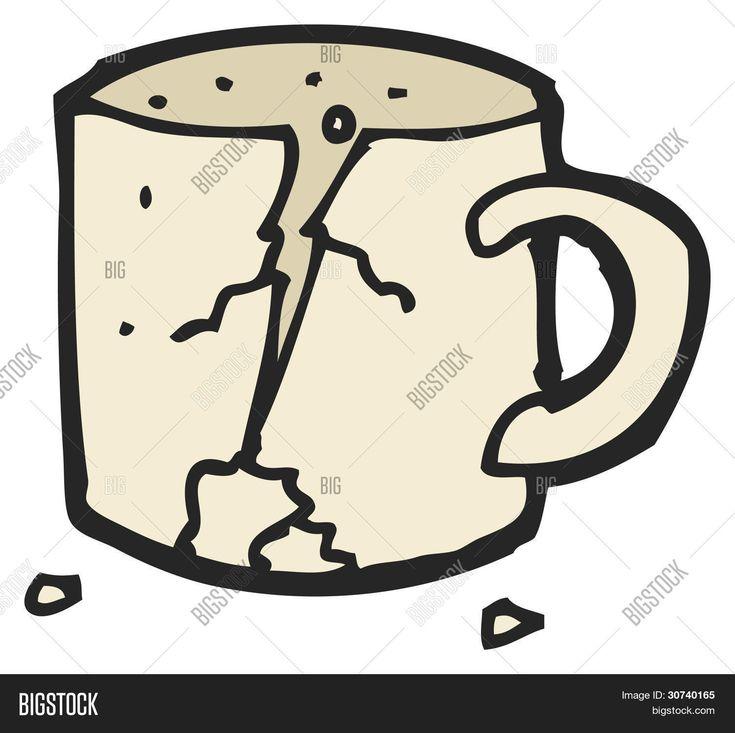 Broken cup cartoon image photo free trial bigstock