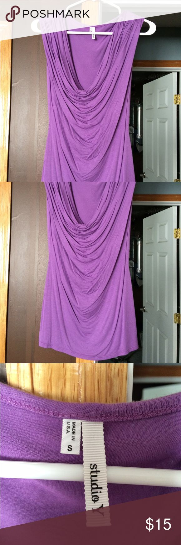 Maurice's dress shirt Maurice's Studio Y purple dress shirt. Size small. Only worn once. No rips or stains from smoke free home. 4th picture shows it on (it is tucked in) Maurices Tops Blouses