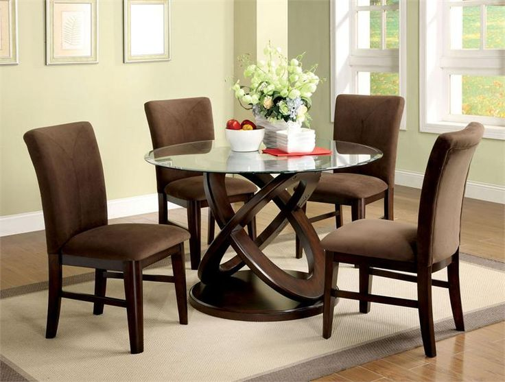 Atwood I Contemporary Style Espresso Wood Finish Glass Table Top Dining  Table Set. This Unique Glass Top Table Is Accompanied By Four Chairs  Upholstered In ...