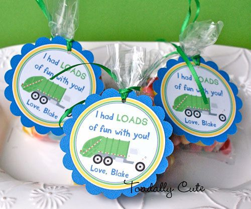NEW  Garbage Truck Party Tags personalized by ToadallyCuteParties, $12.00