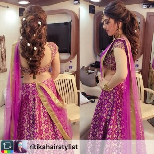 Hansika Motwani hairstyles for sangeet
