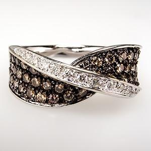 White & Chocolate Diamond Band Ring 14K White Gold