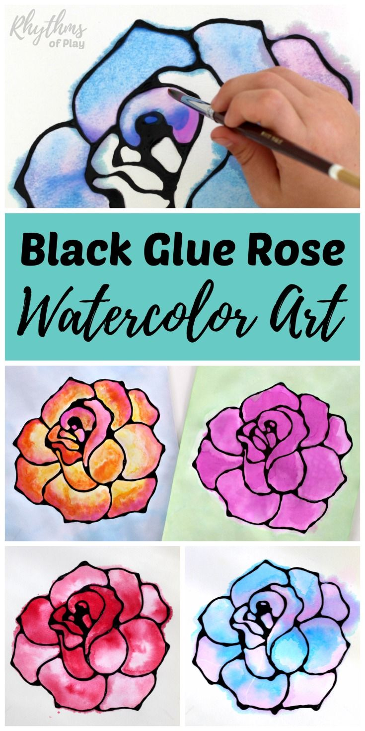 Black glue rose watercolor resist art project. A fun and easy spring and summer flower painting idea for kids, teens, and adults. The tutorial includes how to make black glue and basic beginning watercolor techniques to use for inspiration.An easy homemade gift idea!