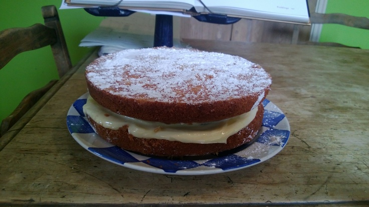 Another attempt at a Victoria Sponge, with lemon curd filling.   By no means perfect but better than the last effort, thanks to help & advice from Pinterest and Twitter friends.