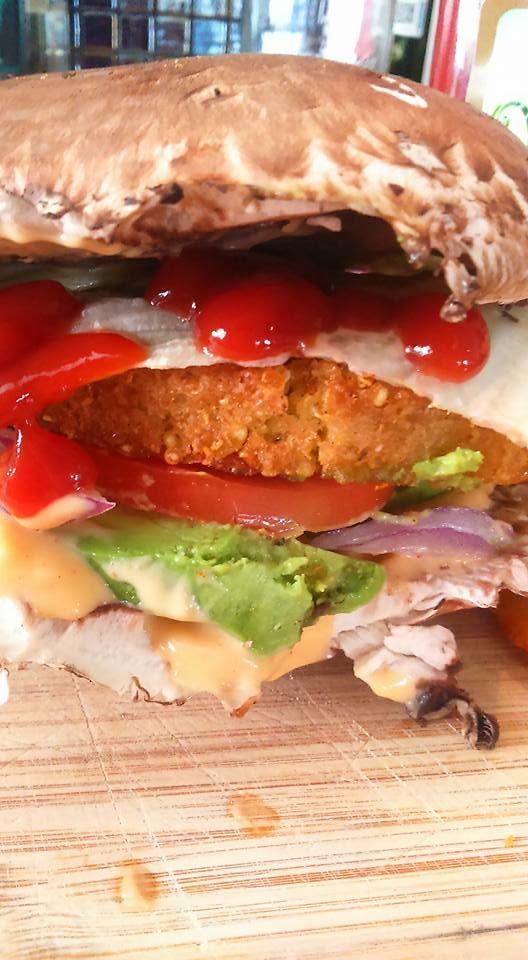 Hamburguesa vegan con pan de portobello