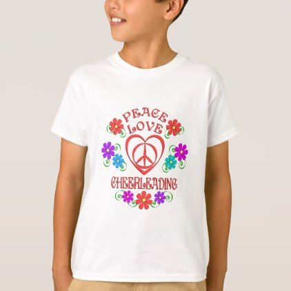 #Peace Love Cheerleading T-Shirt - #cool #kids #shirts #child #children #toddler #toddlers #kidsfashion