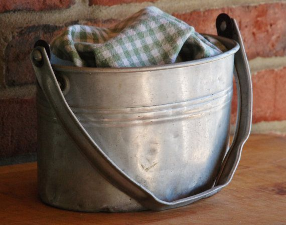 Vintage Buckeye Aluminum Miner's Bucket - Rustic Industrial Aluminum Lunch Pail -  Vintage American Worker's Lunch Tin - Farmhouse Bucket