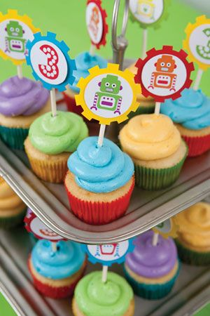 3 Cheers for Robots: invitation, banner, toppers, tags, juice box covers, napkin labels, snack labels