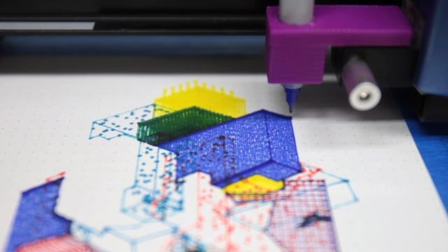 Generative drawings of isometric architectural structures.  Possible, plausible, potential by Miguel Nóbrega is a set of three series of isometric drawings generated by code and printed with colored markers in a plotter machine.