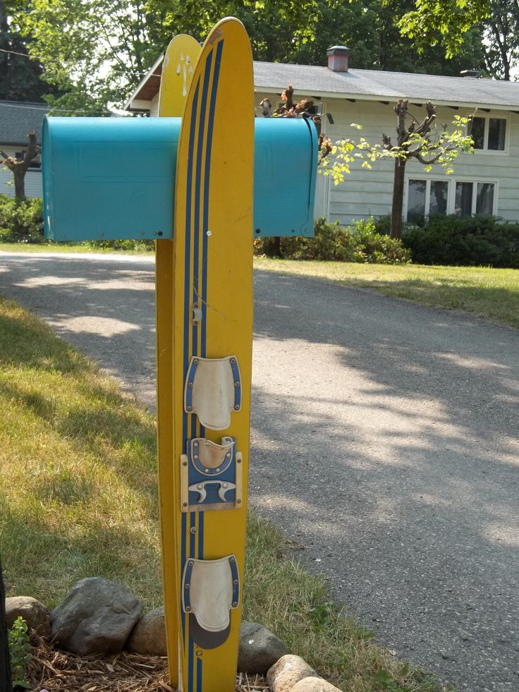 This is our mailbox at the lake.  Made with vintage water skiis.  A very easy project.