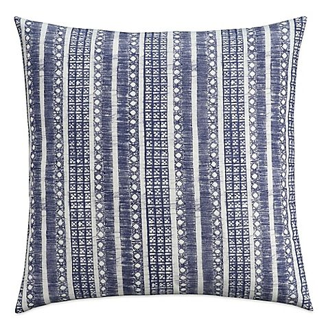 Cupcakes and Cashmere Indigo Stripe European Pillow Sham in Blue