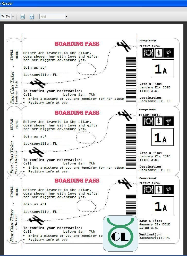 airline ticket template - boarding pass invites for travel ...