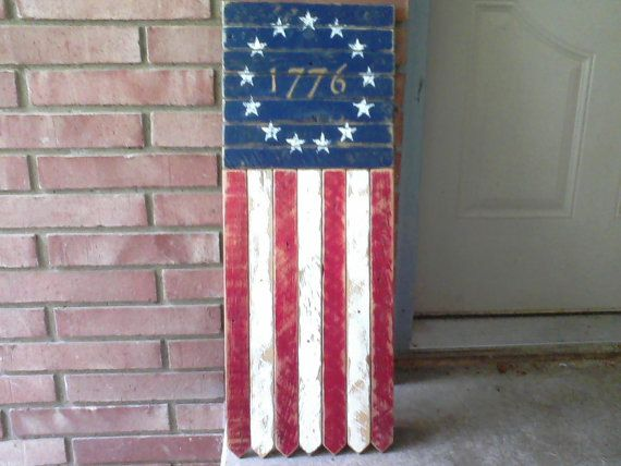 Antique Wood American Flag Quot 1776 Tattered Bottom
