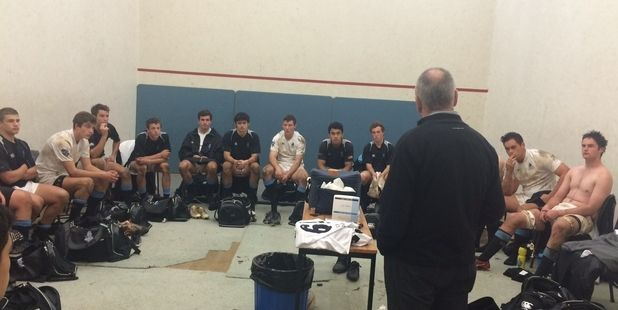 TED'S HEAD: One of New Zealand's most recognisable heads appeared in the Wanganui Collegiate 1st XV's changing room when Sir Graham Henry arrived to provide aftermatch solace on Saturday. PHOTO/SUPPLIED 090615WCSUPLSIR-GRAHAM