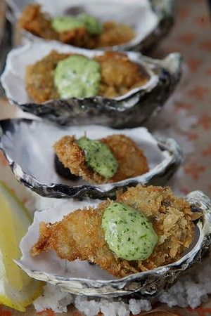 Deep fried oysters d'jour with Rockfella mayonnaise. Inspired by the original Oysters Rockefeller created at the New Orleans restaurant Antoine's since 1899.