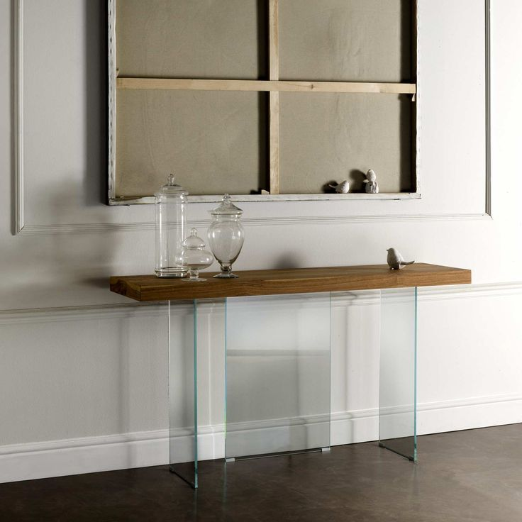 Contemporary console Flai with tempered crystal base, straight edge or un-barked top.