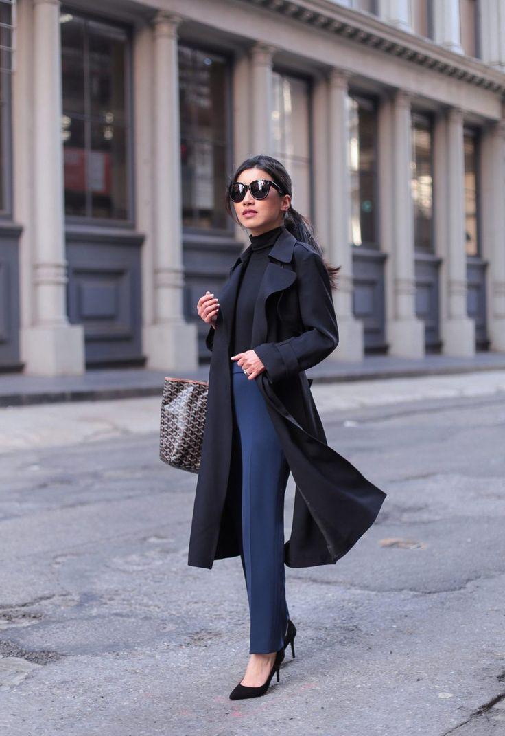 Black turtleneck sweater+navy pants+black pumps+black trenchcoat+grey and  camel