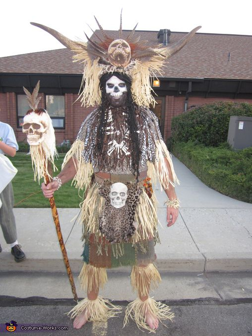 Witch Doctor Costume -- lock up the dogs, cats, and chickens! dont forget some chicken bone necklaces...even a chicken bone 'rattle' would take this over the top! Optional balck top hat or derby with skelly adornement