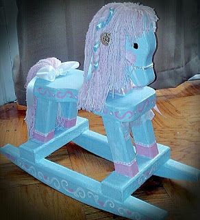 Yarn mane - staples, no sewing required -- Mecham Family: DIY rocking horse