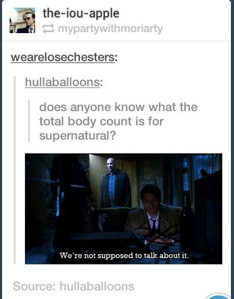 There's a whole tumblr for Supernatural deaths http://supernaturalbodycount.tumblr.com/