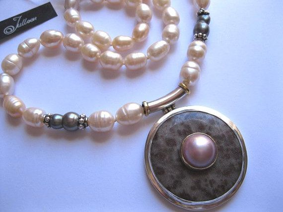 Big Lepidolite Donut and Pink Mabe Pearl Pendant Necklace. All Sterling Silver